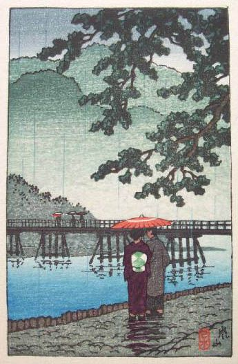 hanga gallery . . . torii gallery: Arashiyama by Kawase Hasui