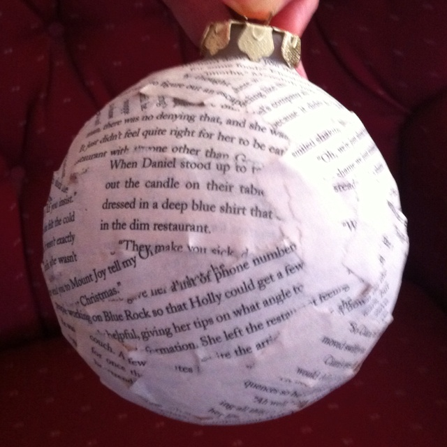 Book pages paper mâché ornament I made for my godmother