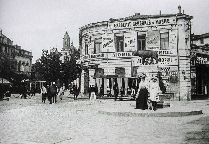 The former Roma Square and the She-Wolf statue, Bucharest 1910