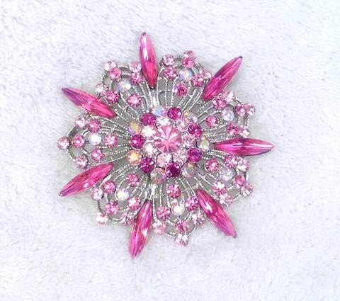 Round Hot Pink/Silver Rhinestone and Crystal Brooch - Cherryl's Jewelry - 1