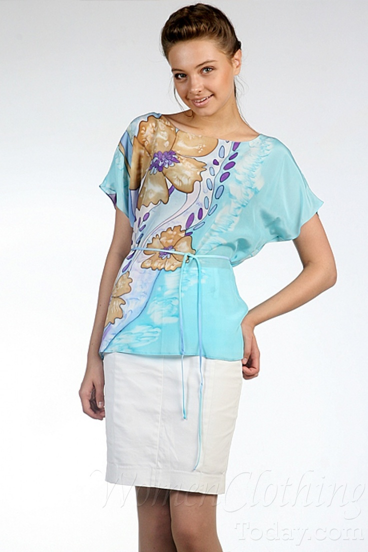 womenclothingtoday.com Silk Blouse Azure Shore 2