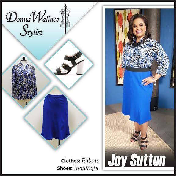 Today I styled Joy in a marine blue trumpet skirt.  The soft skirt accentuates her curves while still falling nicely below the knee for a lady like appearance.   The blouse is in trend-right animal print, featuring blues instead of the usual browns.   The fun Kate Spade sandals in black with a white rubber heel along with the black necklace keeps the look from becoming too busy.  The funky silver and pearl earrings and bracelet is an updated lady like accessory.