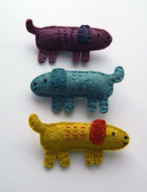 Felt Doggie Brooches