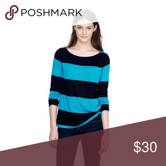 """J. Crew Rugby Striped Boatneck Top J. Crew Women's Rugby Striped Boatneck Top L Large Blue Teal 3/4 Sleeve Rayon  In Excellent Used Condition- no rips, tears, holes- Stored in a clean, smoke free home.  Measurements laying flat-  Pit to pit: 20""""  Length: 23"""" J. Crew Tops"""
