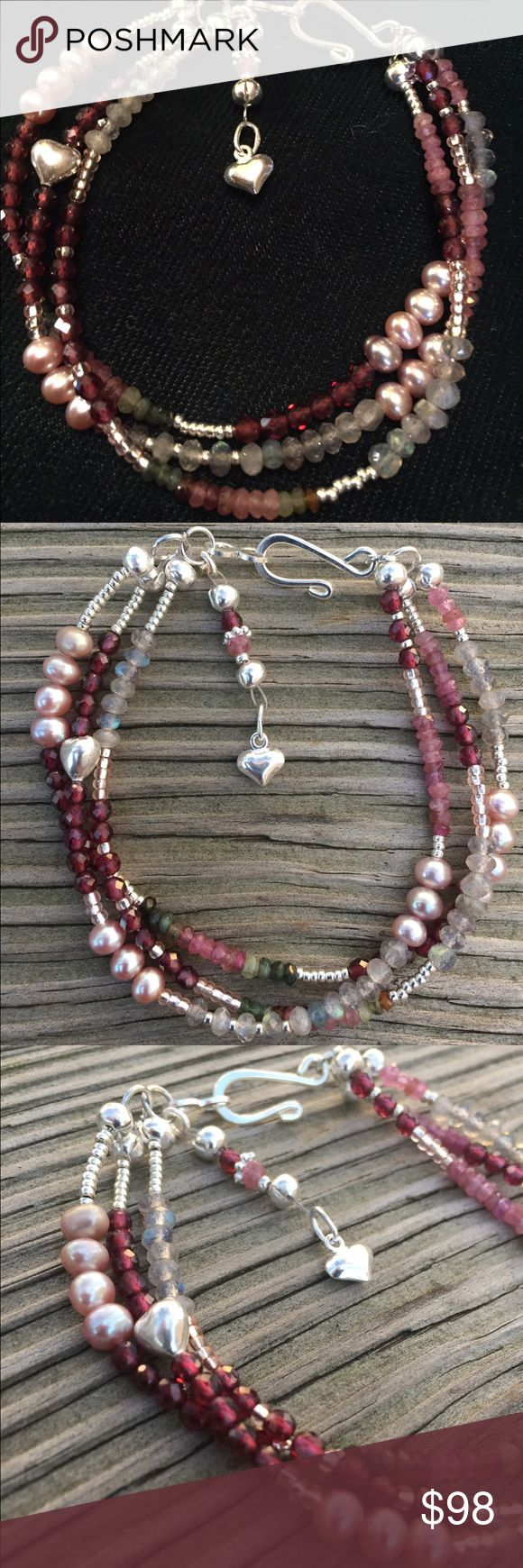 """💥NEW💥 """"Spring Dance"""" Bracelet A gorgeous triple strand bracelet with genuine, grade A garnet, labradorite, freshwater cultured pearls, tourmaline and sterling silver clasp and heart charm. Colorful, but understated and petite. All of my work is one of a kind and comes with a gift box. Also, price is significantly lower on Etsy. 🌹 Thank you for taking a closer look!! Brindleracer Designs Jewelry Bracelets"""
