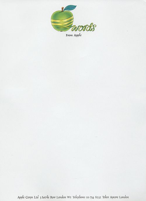 In 1968, The Beatles formed Apple Corps Ltd.; above is the company's letterhead. A long-standing series of legal disputes relating to trademark rights began in 1978, with Apple Computer, Inc.   Apple Corps, 1969 | Submitted by Neil