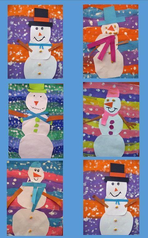 Snowman Art Project w/ Striped Background