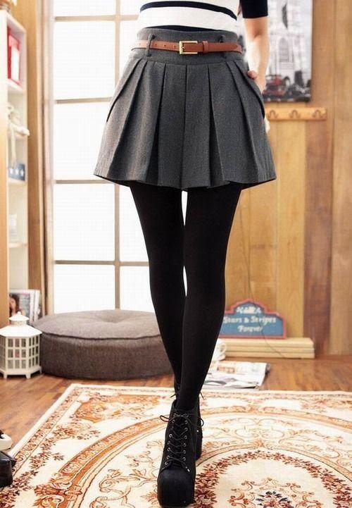 Gray wool skirt + black tights + black platform boots  |  Skirts in the winter  |  winter fashion