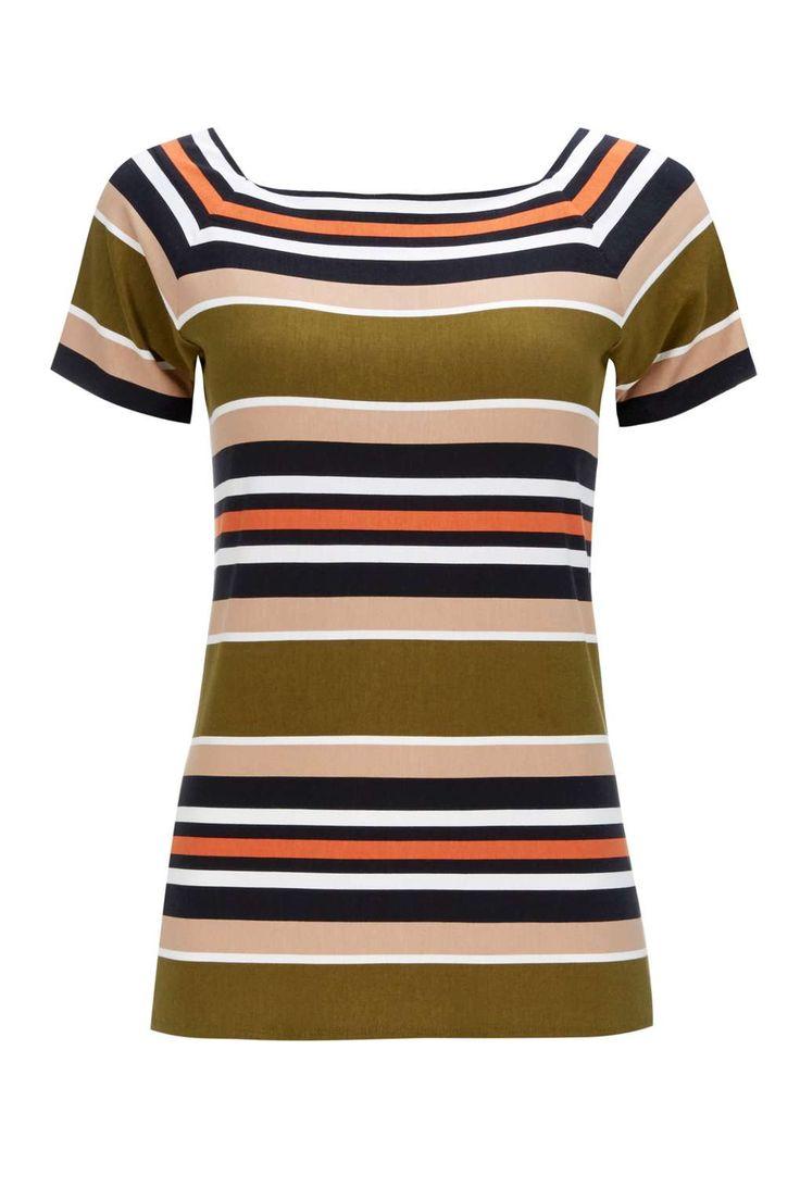 Khaki Stripe Shell Top - Wallis