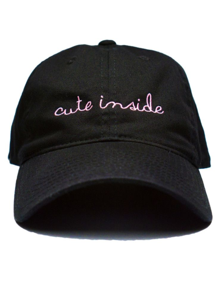 Even when you looking ratchet AF, at least you know you're always cute inside and that's all that matters. Baby Pink embroidered black cap featuring an adjustable metal clasp. Color: Black Made in USA