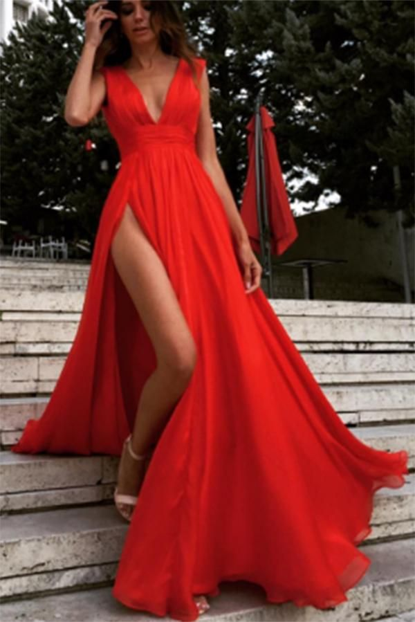 81a1b30e84 Sexy Side Slit Deep V Neck Prom Dress with Pleats