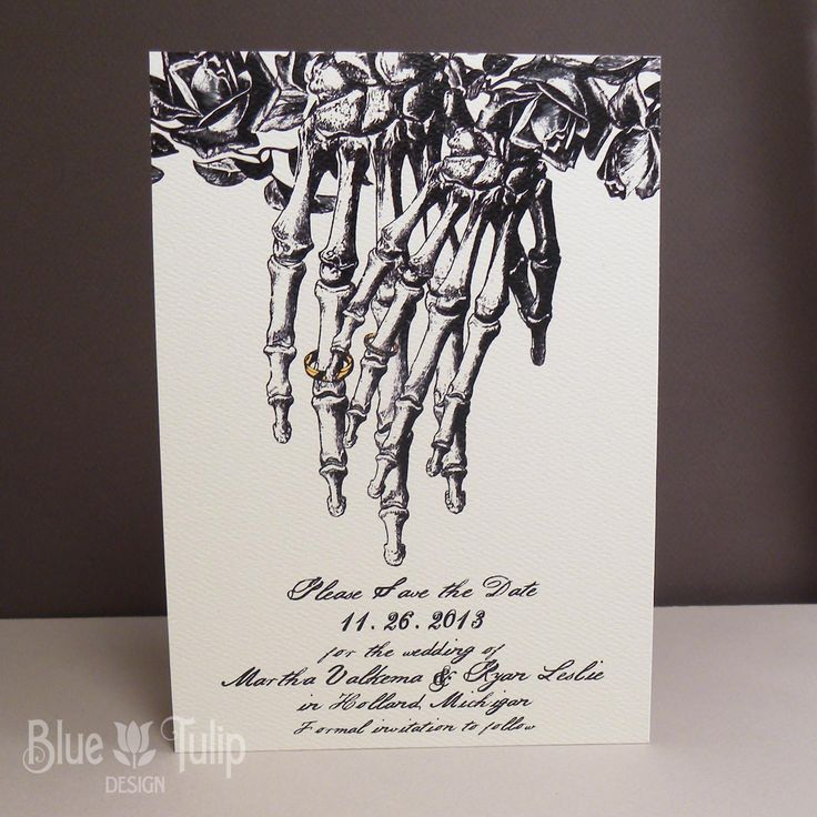 Engraved Skeleton Hands with Wedding Rings by mybluetulipdesign, $2.25