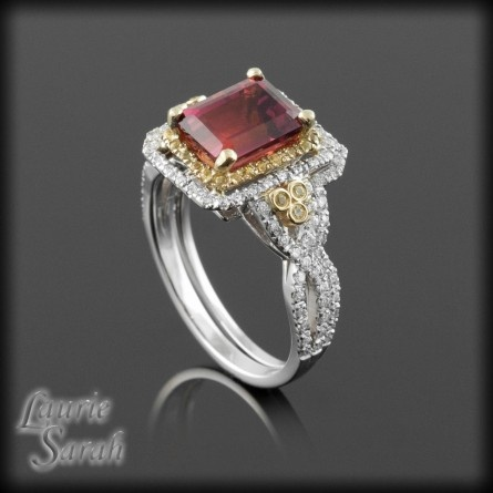 Cool Emerald Cut Red Tourmaline Engagement Ring with Yellow Sapphire and Diamond Double Halo and Contoured Diamond