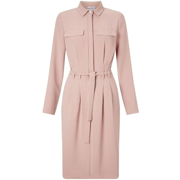 Miss Selfridge Tie Up Shirt Dress, Light Pink (€50) ❤ liked on Polyvore featuring dresses, pink maxi dress, pink dress, midi dress, maxi dress and light pink maxi dress