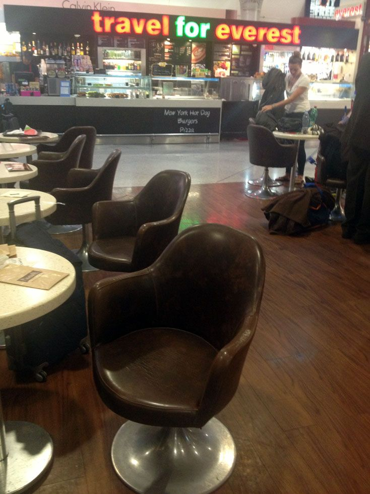 our leather armchairs at the Everest restaurant at Eleftherios Venizelos airport of Athens