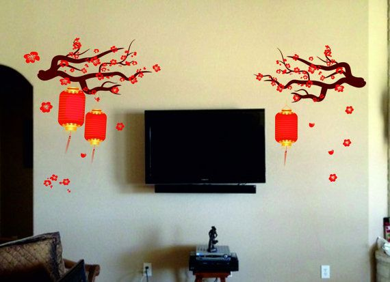 Chinese Lamp Wall Decal Kit  Reusable Vinyl by Walls2LifeDecals