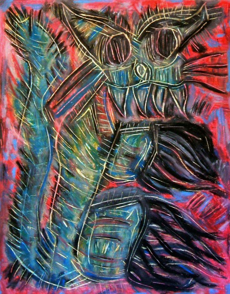 """""""Gatto Mammone"""" 2012 Tecnica mista su cartoncino 48x38 ©Pietro Gargano"""