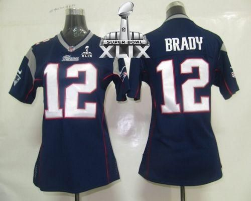 Nike Patriots 12 Tom Brady Navy Blue Team Color Super Bowl XLIX Women's Stitched  NFL Elite