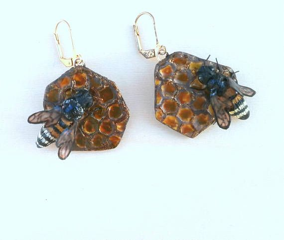 Clay bee earrings life size polymer clay bees on honeycomb by Lijoux