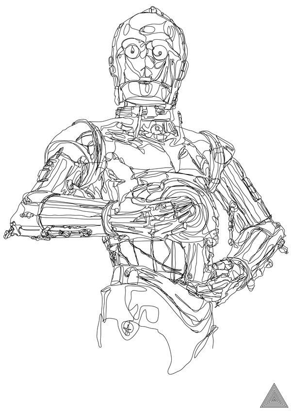 One Line Star Wars Drawings Break All Boundaries