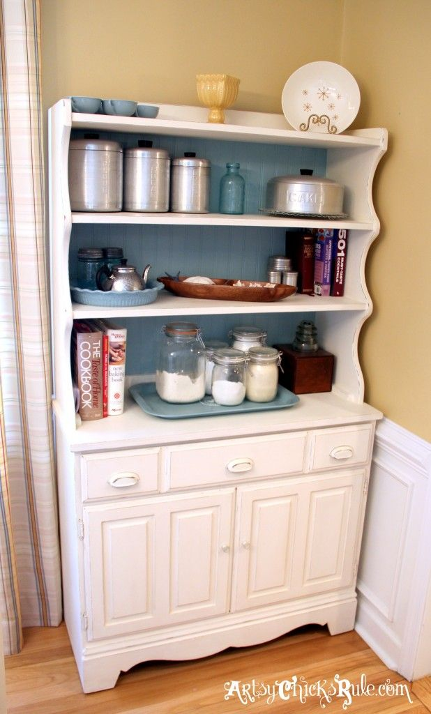 """Old 1970's Craigslist hutch turned """"Baker's"""" Hutch .....with Annie Sloan Chalk Paint #chalkpaint #duckeggblue"""
