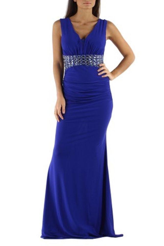 Donna abito elegante cerimonia lungo blu elettrico sirena slim strass  pietre blu 195fd2d2833
