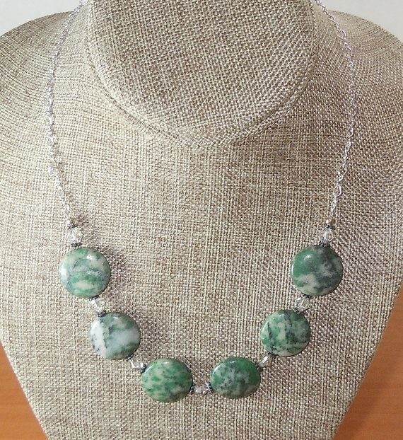 Swarovski Crystal Beads and Green Tree Agate by BestBuyDesigns
