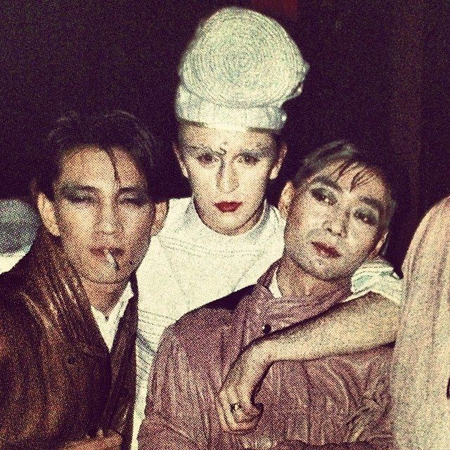 Ryuichi Sakamoto, Steve Strange and Haruomi Hosono exchanging make-up tips... Such a cool pic!