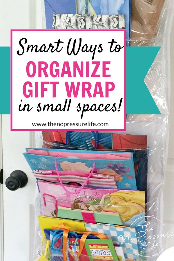 These Are Such Easy Gift Wrap Storage Ideas Perfect For Small Spaces Learn How To Organiz Wrapping Paper Storage Gift Bag Storage Wrapping Paper Organization