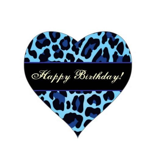 Aqua Blue and Black Leopard Party Sticker
