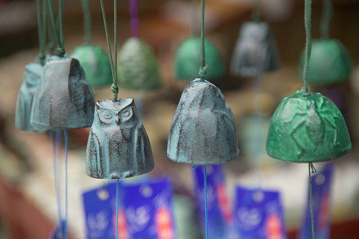 風鈴 Wind chimes, display in street in front of shop, Nagano, Japan