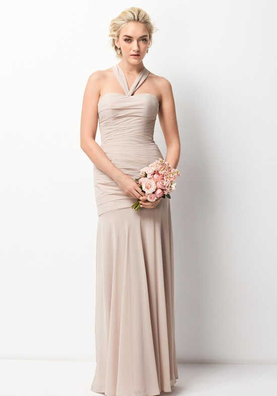 WTOO Bridesmaid Dress Size 10 Mocha Pale Tan Formal Prom Long Gown Convertible #208
