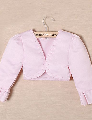 bloem meisje 's avonds jas met kralen satijnen avond / bruiloft wraps bolero schouderophalen – EUR € 15.99