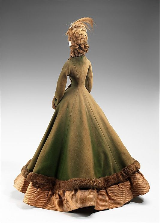 """1867 Doll""  Jacques Fath  (French, 1912–1954)  Designer: Georgel Date: 1949 Culture: French Medium: metal, plaster, hair, wool, silk, fur, feather Dimensions: 32 1/4 x 17 in. (81.9 x 43.2 cm) Credit Line: Brooklyn Museum Costume Collection at The Metropolitan Museum of Art, Gift of the Brooklyn Museum, 2009; Gift of Chambre Syndicale de la Couture Parisienne, 1949"