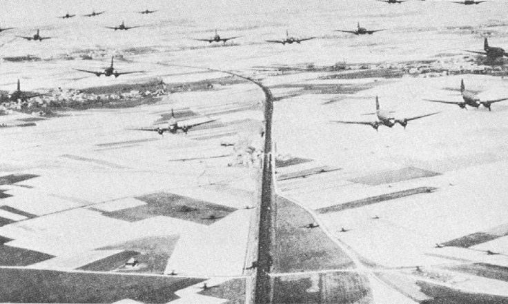 US C-47s drop US and British paratroopers over Southern France in Operation Dragoon, 15 August 1944 (US Air Force)