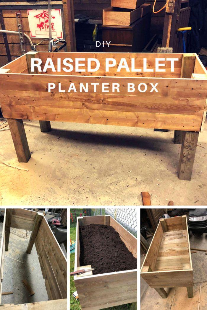 Raised Pallet Planter Box 1001 Pallets Pallet Planter Box Diy Planter Box Wood Pallet Planters