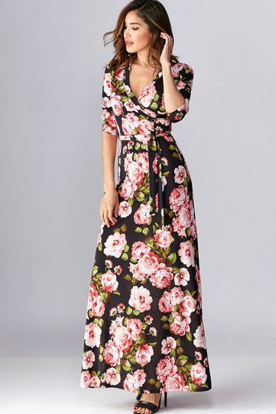 Vintage Rose Floral Wrap Maxi Dress - Black - ShopLuckyDuck