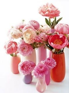 REVEL: Colorful Vases + Fresh Flowers