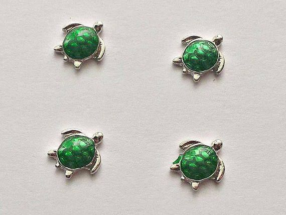 4 Turtle Floating Charms  Glass Locket Charms  Floating