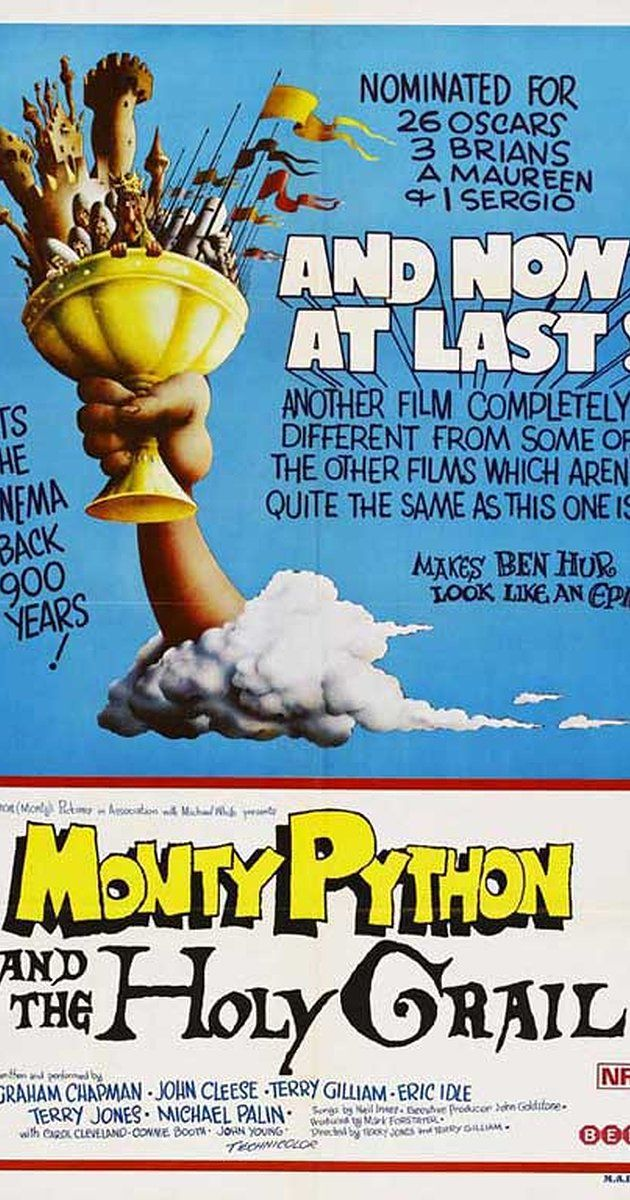 Directed by Terry Gilliam, Terry Jones.  With Graham Chapman, John Cleese, Eric Idle, Terry Gilliam. King Arthur and his knights embark on a low-budget search for the Grail, encountering many, very silly obstacles.