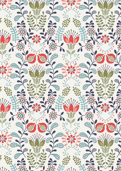 Lewis & Irene - Home Sweet Home A97.2 - Blue & green flower garden on Cornish cream