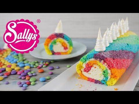 Einhorn Biskuitrolle / Regenbogenrolle / Rainbow Unicorn Swiss Roll - YouTube