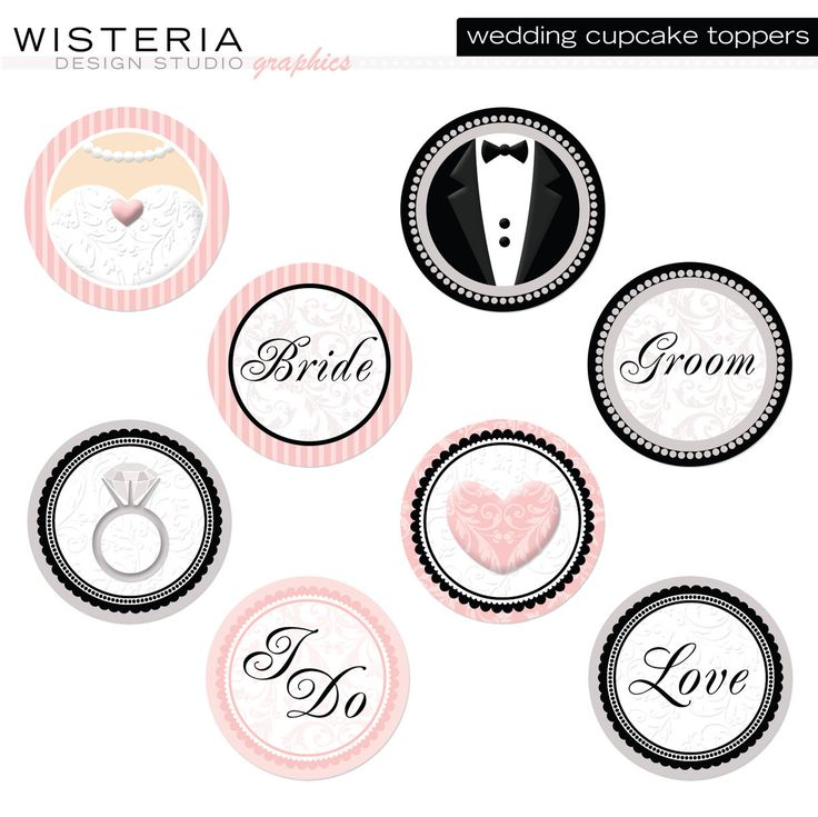 printable cupcake toppers wedding | Wedding Cupcake Toppers DIY Printables by WisteriaDesignStudio