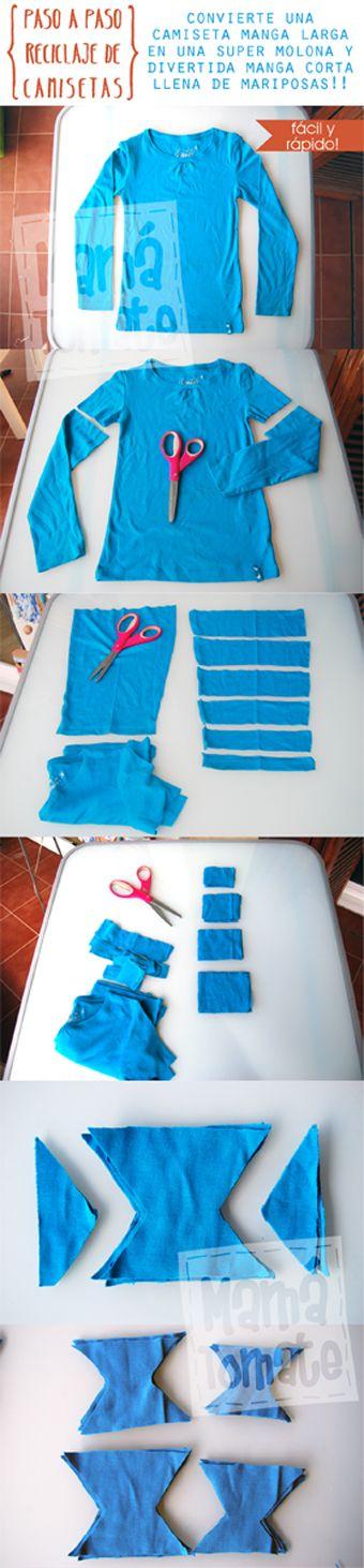 MAMÁ TOMATE: Paso a paso. Convierte una camiseta manga larga en manga corta. Divertida y llena de mariposas