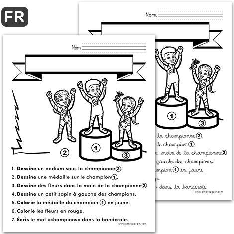 """Fichier PDF téléchargeable Langue: français En noir et blanc 1 page Taille d'une page: 8,5 X 11 po. Niveaux: 1re - 2e années Les élèves complètent l'image en suivant les sept consignes. Si vous imprimez la version en cursif, n'oubliez pas de cocher """"Réduire à la zone d'impression"""" dans vos paramètres d'impression afin que la page entière soit imprimée."""