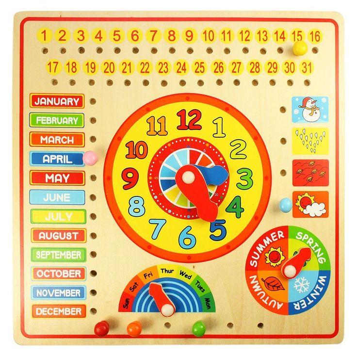 Bigjigs Toys   Kalendár s hodinami s angličtinou  | MALL.SK
