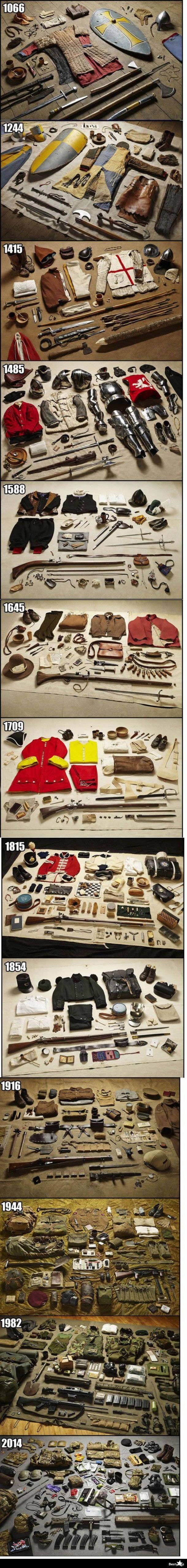 What soldiers carried at different points in English history