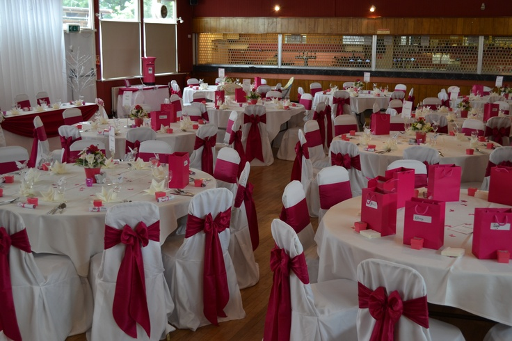 Fuschia Satin Bows on White Chair Covers