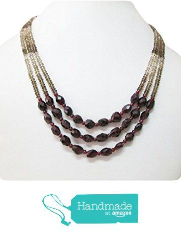 "Garnet & Smoky Quartz Multi-Strand Beaded necklace by Anushruti 16"" Handmade Gemstone jewelry from anushruti https://www.amazon.com/dp/B01G3OO1I8/ref=hnd_sw_r_pi_dp_9KQvyb2HJYXEE #handmadeatamazon"