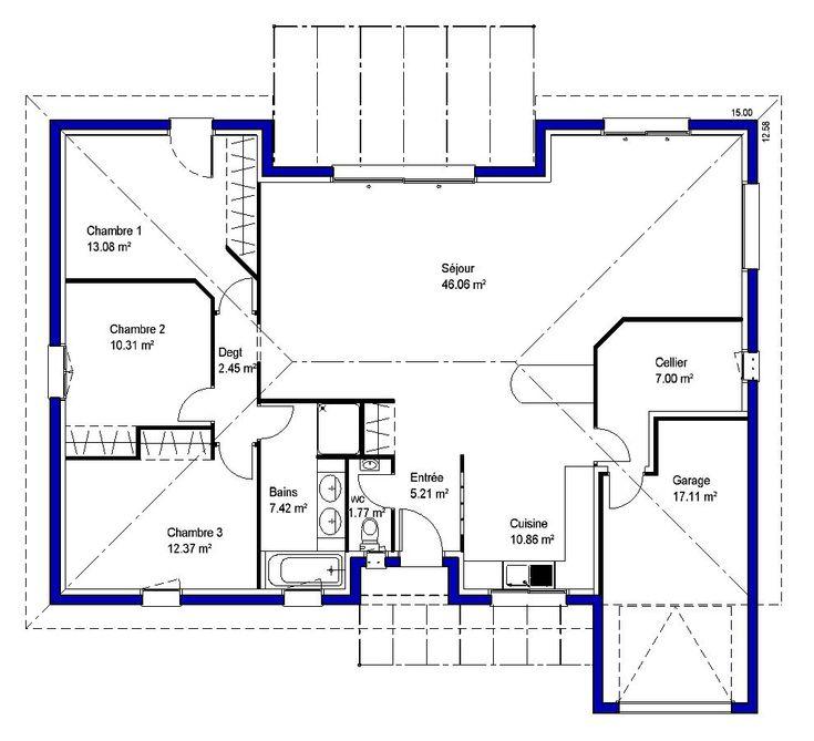 plan maison plain pied en U u2026 Pinteresu2026